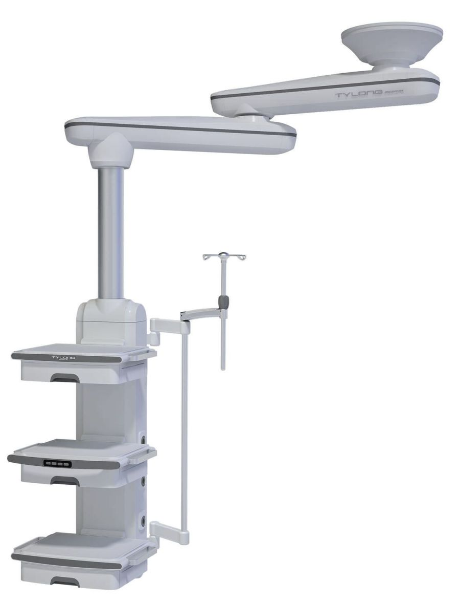 Ceiling-mounted medical pendant / articulated / with column / double-arm YDT-IDT-1. Hunan taiyanglong medical
