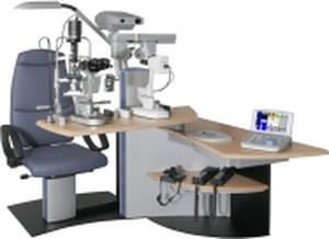 Ophthalmic workstation / equipped / with chair / 1-station HS 1010 Haag-Streit Diagnostics