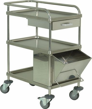 Treatment trolley / stainless steel / 3-tray H-31 Hidemar