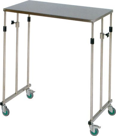 Instrument table / on casters / height-adjustable / stainless steel H-27 Hidemar