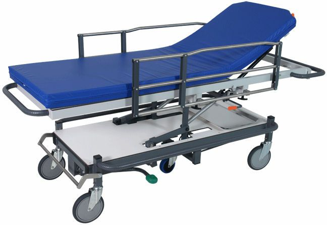 Transport stretcher trolley / height-adjustable / X-ray transparent / hydro-pneumatic 200 kg | H-38 Hidemar