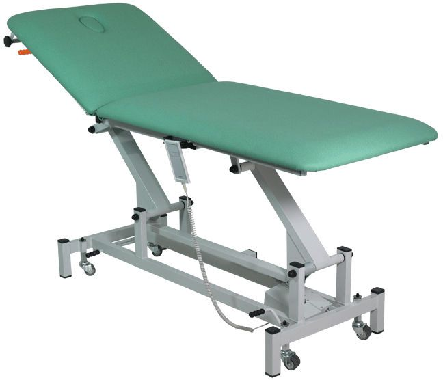 Electrical examination table / on casters / height-adjustable / 2-section H-05 Hidemar