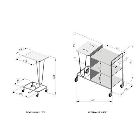 Waste trolley / linen / 3-bag Picco Novo HAEBERLE