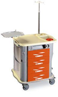 Emergency trolley / with IV pole / with defibrillator shelf CP-EM5 Gamma Poliuretani