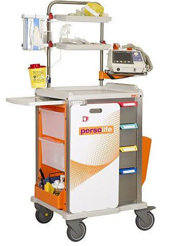 Emergency trolley / with IV pole / with defibrillator shelf / with oxygen cylinder holder PCLM + PCLM-V Francehopital
