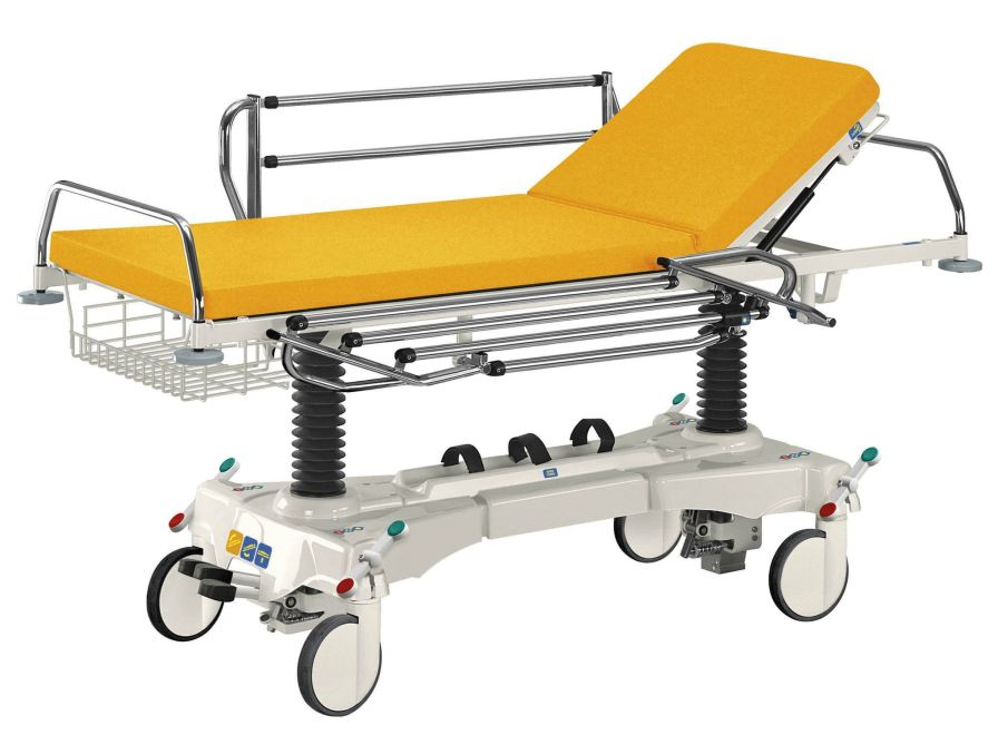 Transport stretcher trolley / height-adjustable / X-ray transparent / mechanical WP-09 Famed ?ywiec sp. z o.o.
