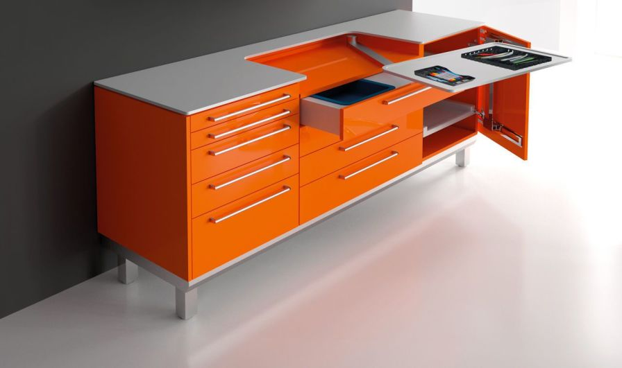 Dental worktop / medical office / with drawer / with storage unit S_tray SARATOGA S.p.A.