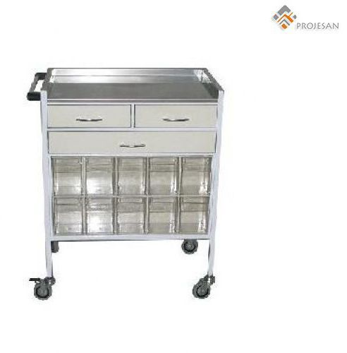 Treatment trolley / with drawer / stainless steel PS-EQ22 PROJESAN