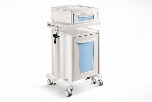 Medical bedside cabinet / hospital / with door / on casters 2551 Double Psiliakos Leonidas