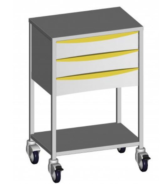 Anesthesia trolley / stainless steel / 1-tray / 3-drawer 43730 Promotal