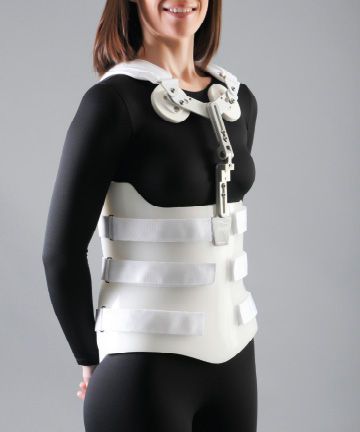 Thoracolumbosacral (TLSO) support corset / with sternal pad Custom Bivalve Optec USA