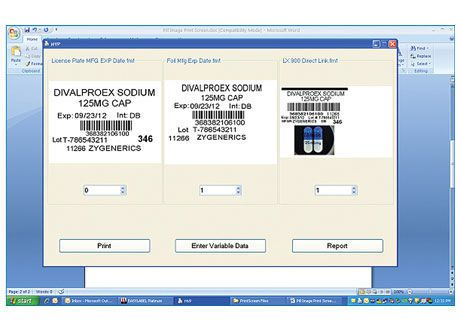 Printing software / viewing / pharmaceutical laboratory MTS Medication Technologies