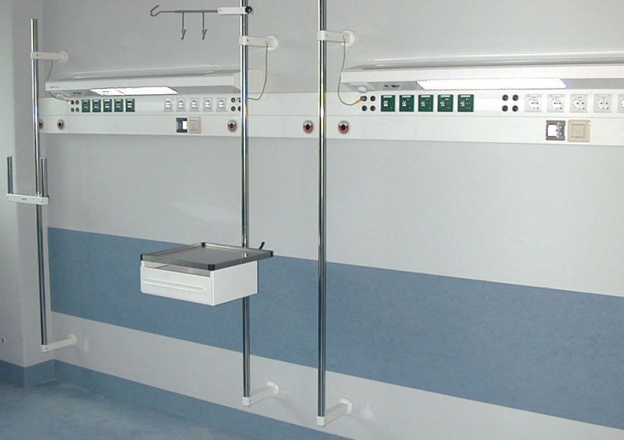 Bed head unit with light / horizontal IV 1054 and modulux series Modul technik