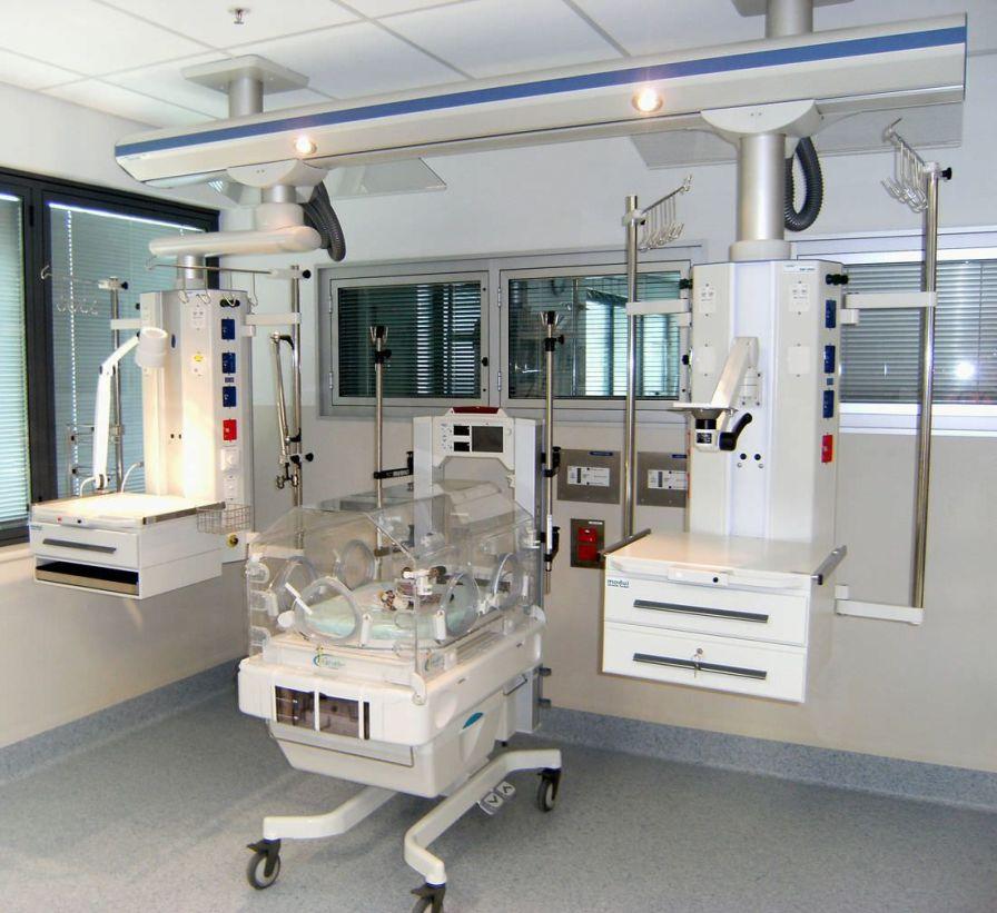 Ceiling-mounted supply beam system moduflex 6000 Modul technik