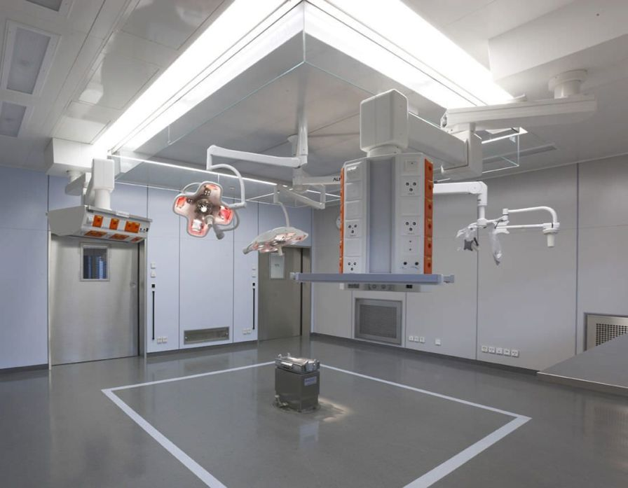 Ceiling-mounted double medical pendant / articulated / with column DVE 5200 Modul technik