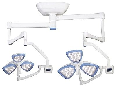 LED surgical light / with video camera / ceiling-mounted / 2-arm MEDILED DUET Mediland Enterprise Corporation