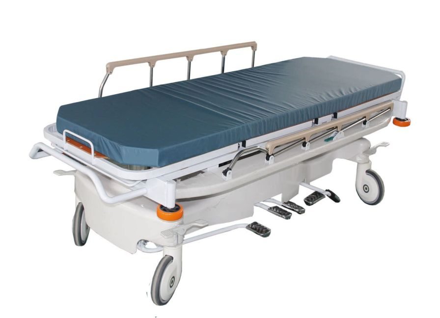 Transport stretcher trolley / X-ray transparent / height-adjustable / hydraulic PY-CZ Nanning passion medical equipment