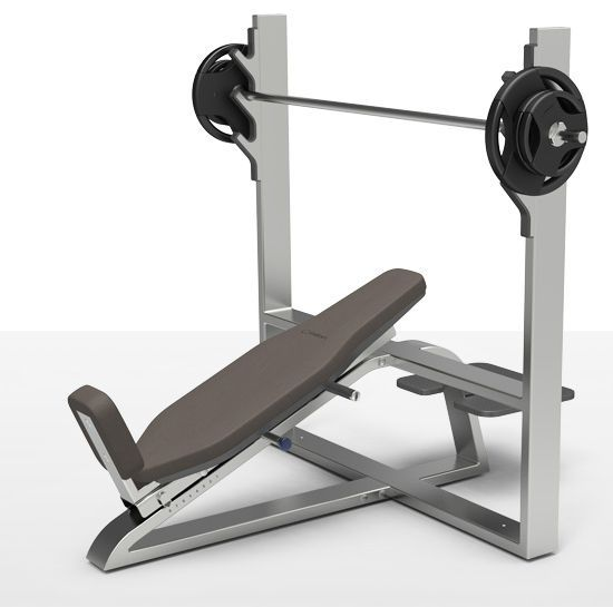 Weight training bench (weight training) / traditional / inclined / with barbell rack milcanic milon industries