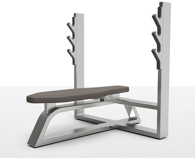 Weight training bench (weight training) / traditional / flat / with barbell rack milcanic milon industries