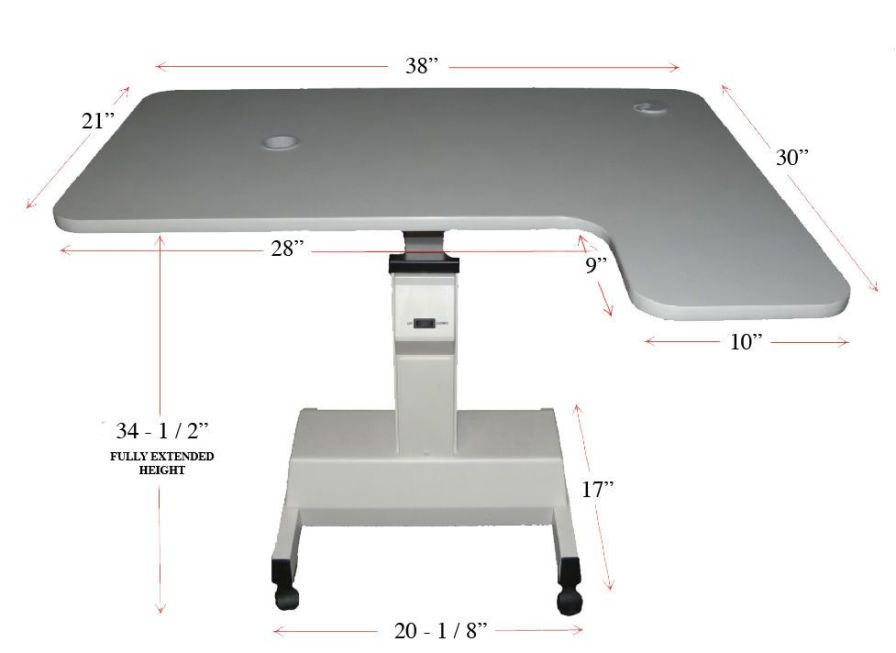 Electric ophthalmic instrument table / height-adjustable / on casters L-Shape Kowa American Corporation