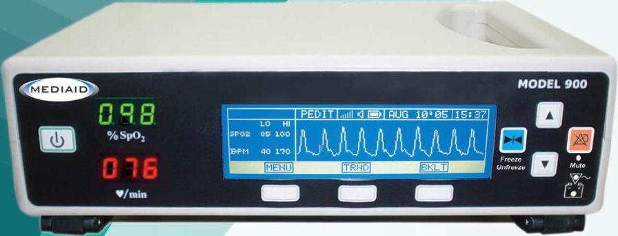 Pulse oximeter with separate sensor / table-top 1-100 % SpO2 | MODEL 900 Mediaid Inc.