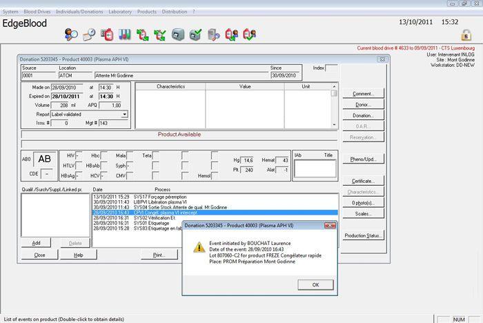 Management software / medical / for blood transfusion center EdgeBlood™ HAEMONETICS