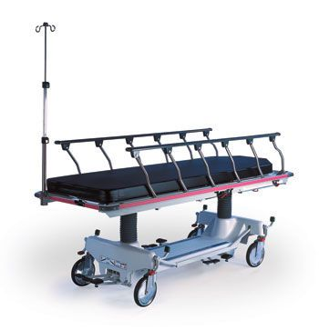 Transport stretcher trolley / X-ray transparent / height-adjustable / hydro-pneumatic Horizon® Fluoro-Track 493 Hausted Patient Handling Systems