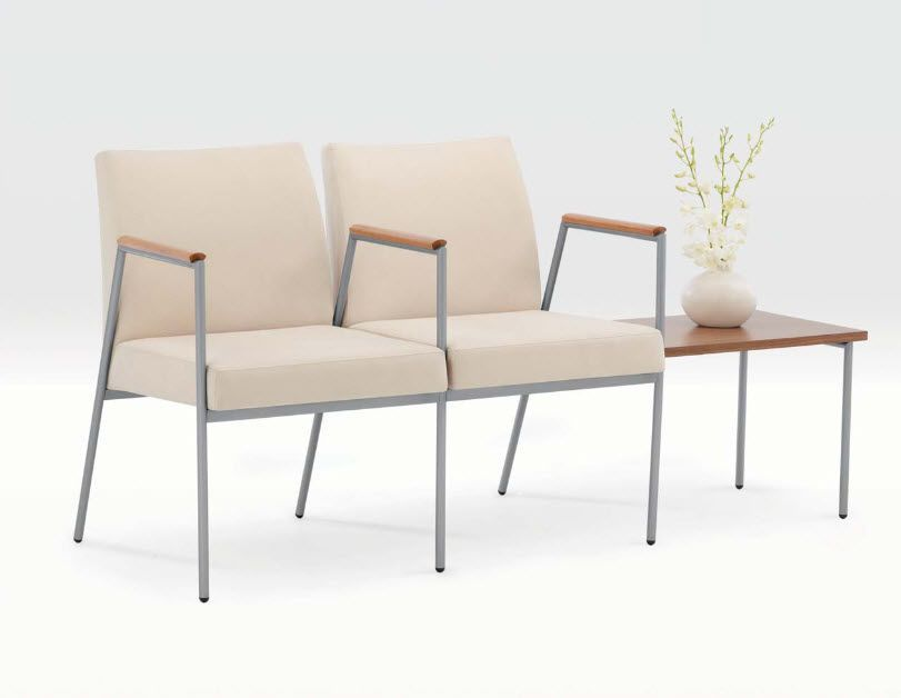 Waiting room chair / beam / with table / 2 seater Suite Tandem series Encore