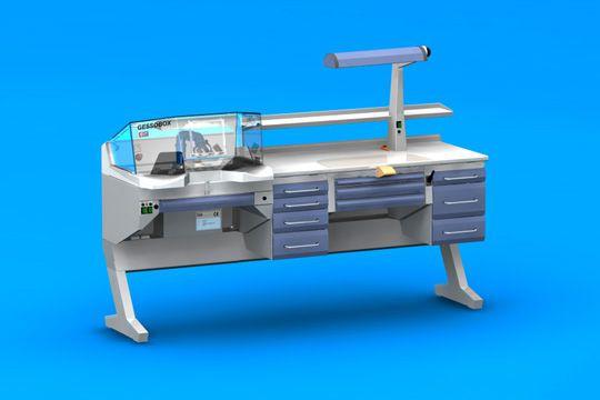 Dental laboratory workstation / with hood / 1-station GESSOBOX+C4+PL+C5 ERIO