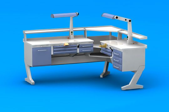 Dental laboratory workstation / 2-station CP+PL+ANG+C2+PL/AR+C3 ERIO