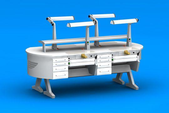 Dental laboratory workstation L(31)+C4+PL/AR+C4+PL/AR+L(31), L(31)+PL/AR+C4+PL/AR+C4+L(31) ERIO