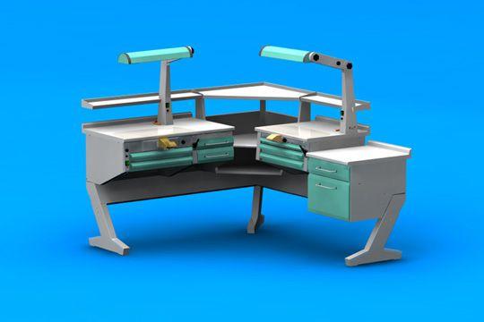 Dental laboratory workstation / 2-station PL/AR+C2+ANG+PL+BF/C ERIO