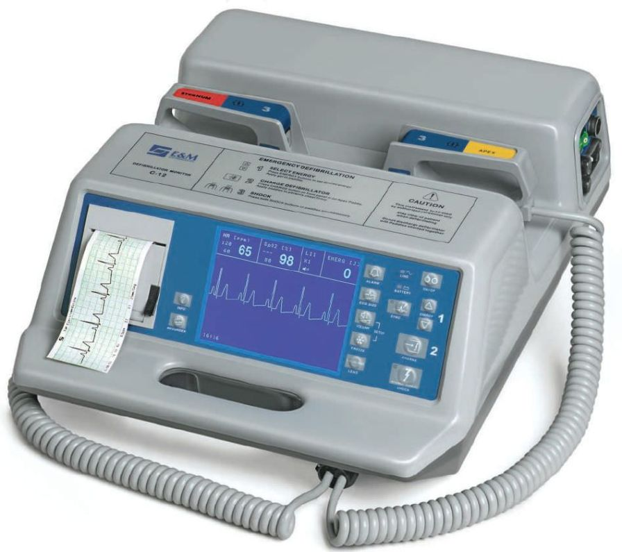 Manual external defibrillator / with ECG monitor C-12R E & M Electromedicina