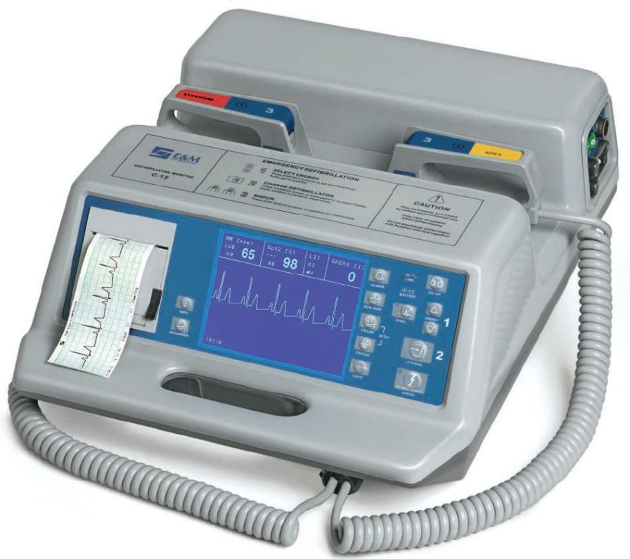 Manual external defibrillator / with ECG monitor C-12B E & M Electromedicina
