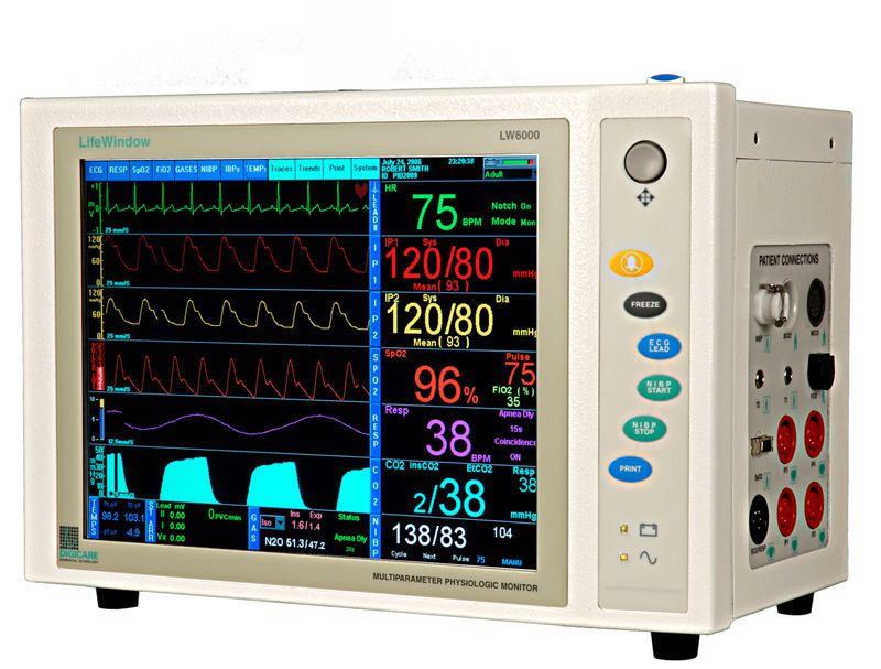 Compact multi-parameter monitor / with touchscreen LifeWindow™ LW6000 Digicare Biomedical Technology