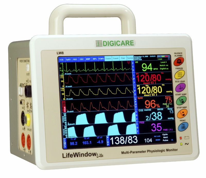 Compact multi-parameter monitor / transport / with touchscreen LifeWindow™ Lite Digicare Biomedical Technology