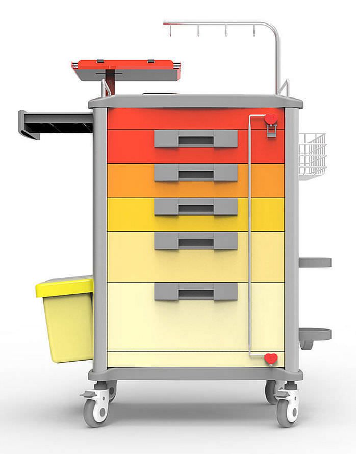 Multi-function cart / with waste bin / with oxygen cylinder holder / with defibrillator shelf BEIJING JINGDONG TECHNOLOGY CO., LTD