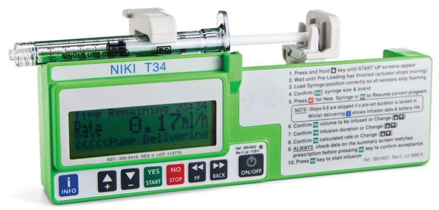 1 channel syringe pump 0.1 - 650 ml/h   T34-1ml™ Caesarea Medical Electronics
