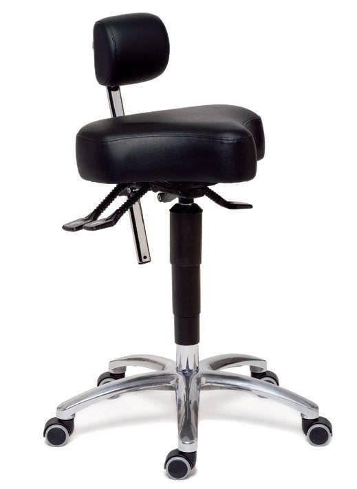 Medical stool / height-adjustable / on casters / with backrest ErgoSolex Back Quality Ergonomics (BQE)
