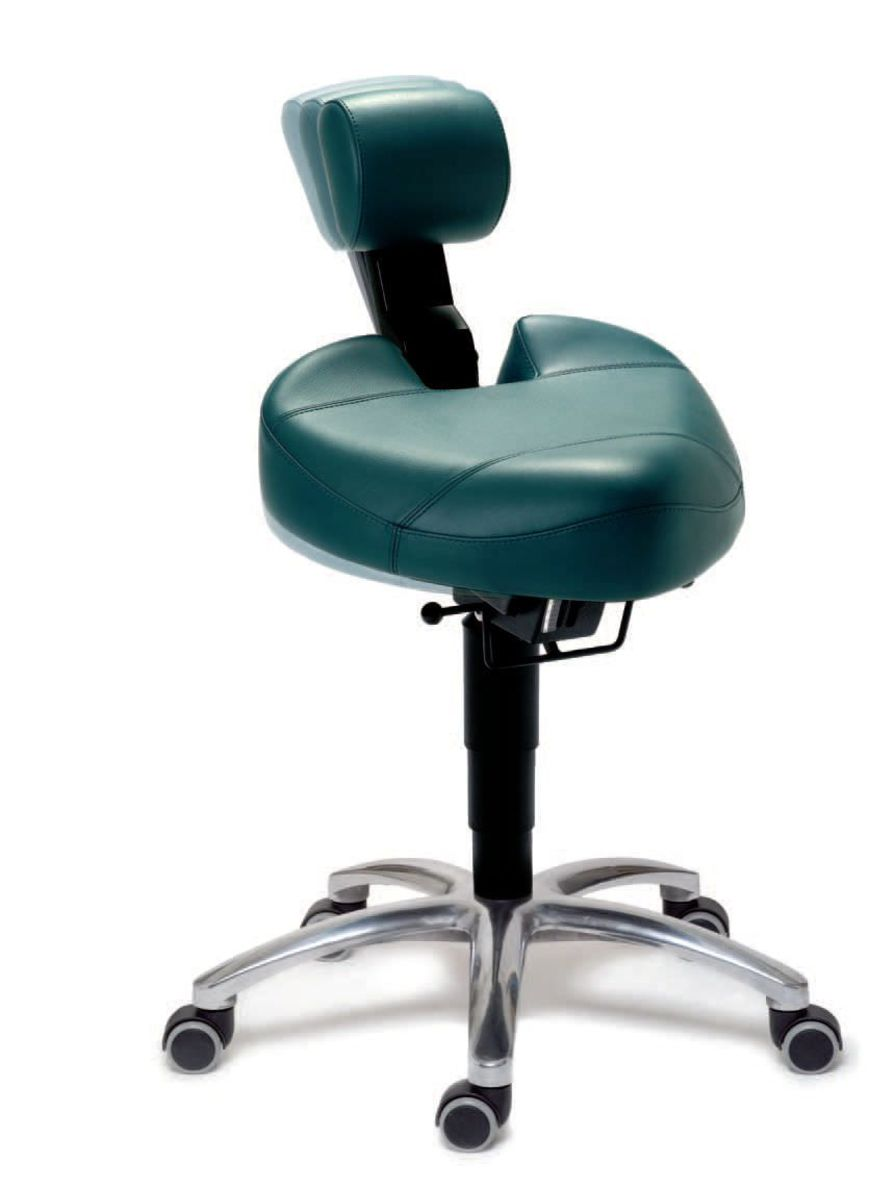 Medical stool / height-adjustable / on casters / T seat Dynamic® Back Quality Ergonomics (BQE)