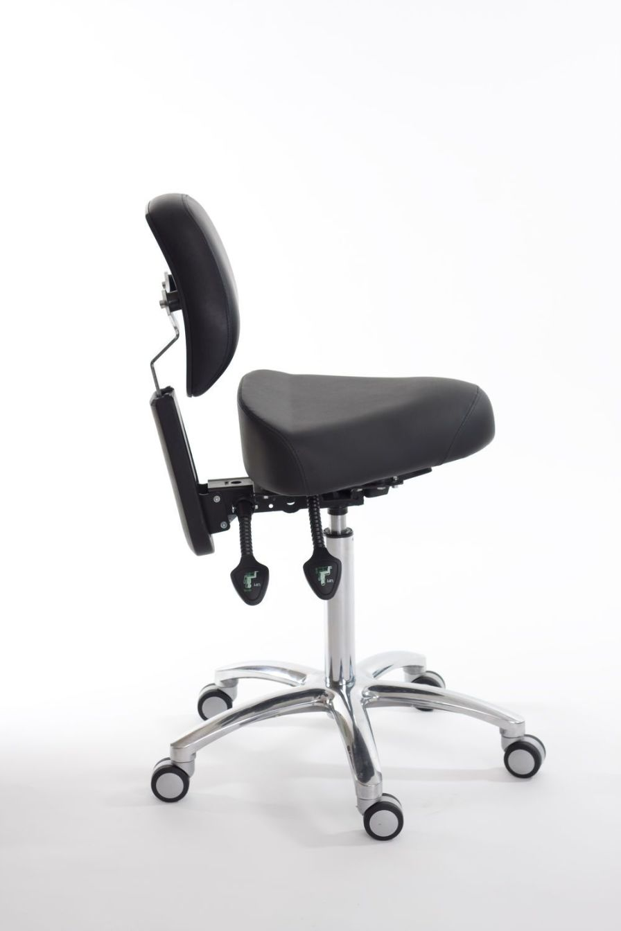Medical stool / on casters / height-adjustable / T seat CorrectSit CM Back Quality Ergonomics (BQE)