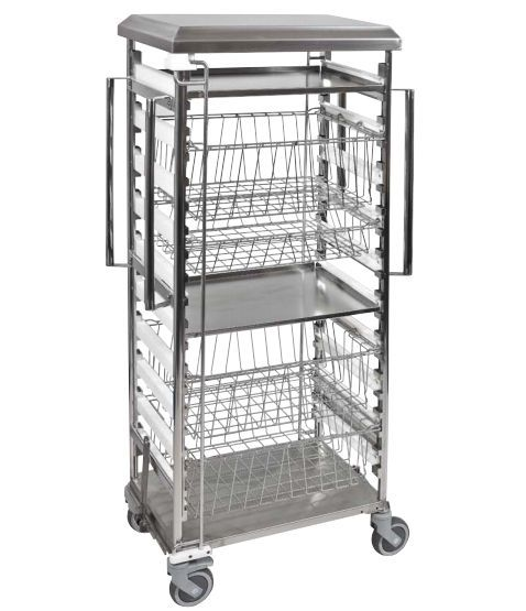 Transport trolley / for sterile goods / open-structure FLEXI Decon Stainless