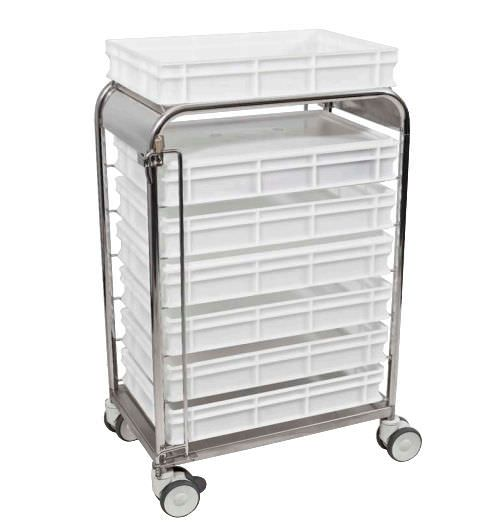 Transport trolley / with basket / open-structure COMBI Decon Stainless