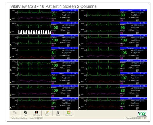 Patient central monitoring station / 16-bed VitalView® CSS Criticare Systems