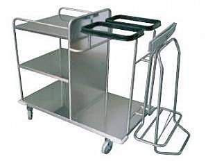 Waste trolley / clean linen / dirty linen / with shelf JUNIOR K Centro Forniture Sanitarie