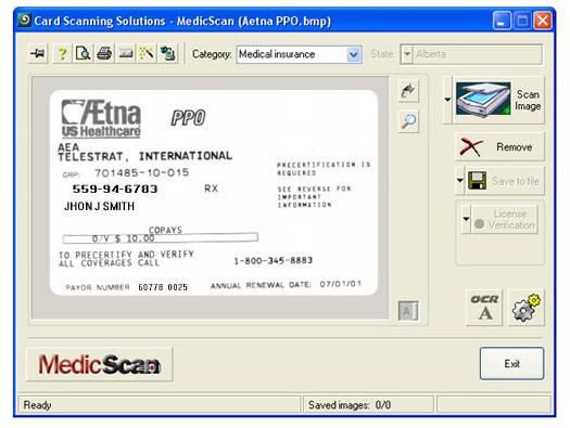 Medical software / for health insurance card scanners MedicScan ® Card Scanning Solutions