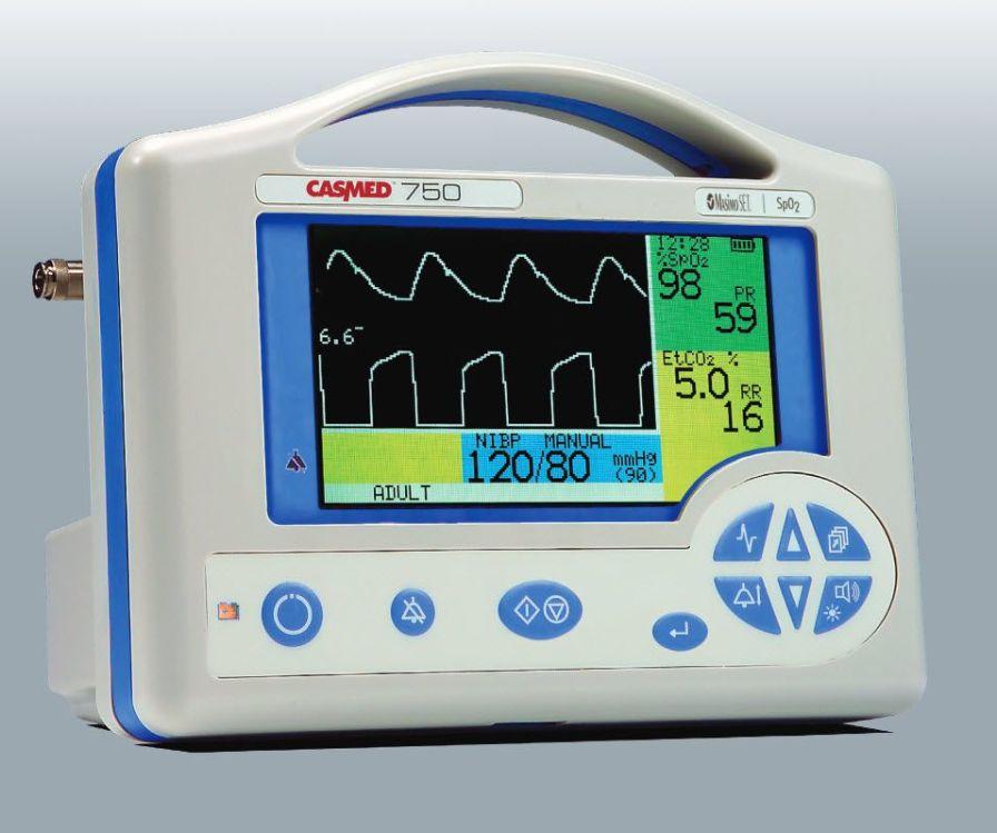 NIBP multi-parameter monitor / ECG / etCO2 / SpO2 750 series CAS Medical Systems