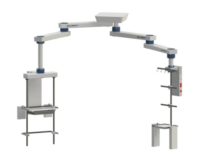 Ceiling-mounted double medical pendant / articulated / with column 68HJ Bourbon