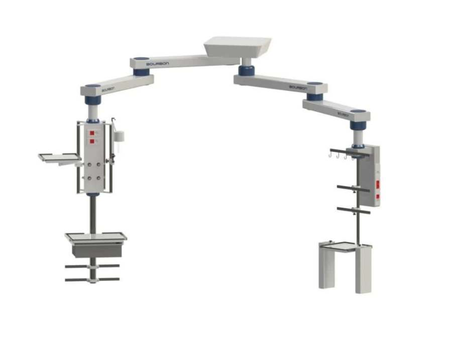 Ceiling-mounted double medical pendant / articulated / with column 68MJ Bourbon