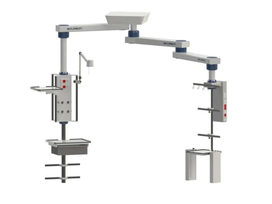 Ceiling-mounted double medical pendant / articulated / with column 58MJ Bourbon